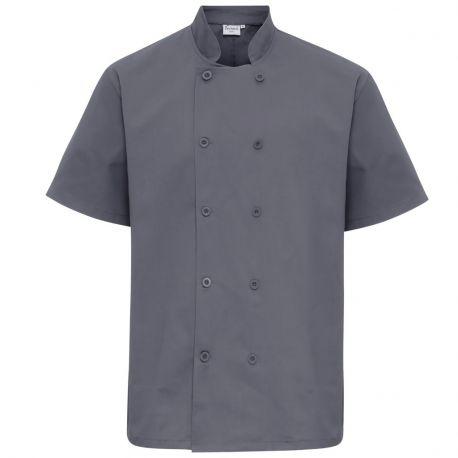 Veste de cuisinier homme fermeture portefeuille manches courtes à boutons