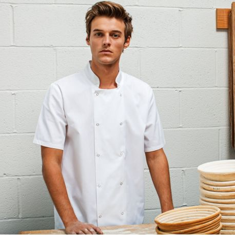Veste de cuisinier manches courtes à boutons pressions, 195 g/m²