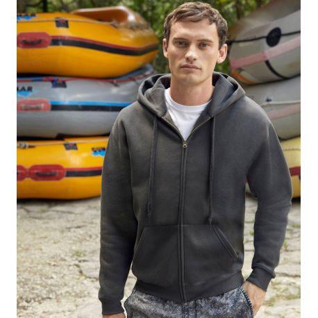 Sweat premium homme zippé à capuche doublée en polycoton, 280 g/m²