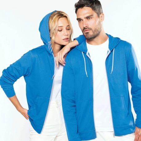 Veste zippée légère et douce à capuche en coton, 180 g/m²