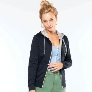Sweat-shirt femme zippé molletonné avec capuche contrastée, 280 g/m²