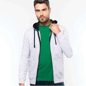Sweat-shirt homme zippé molletonné avec capuche contrastée, 280 g/m²