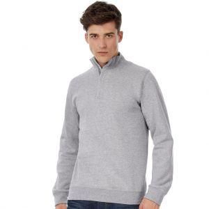 Sweat-shirt pull moderne col zip en polycoton, 280 g/m²