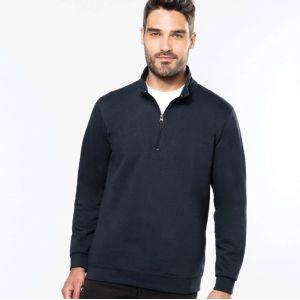 Sweat-shirt col zippé en molleton gratté, 280 g/m²
