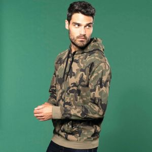 Sweat-shirt camouflage à capuche, 280 g/m²