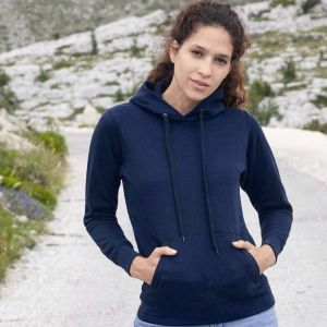 Sweat femme à capuche doublée en polycoton, poche kangourou, 280 g/m²