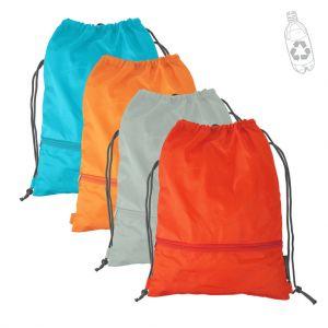 Gym bag en plastique recyclé, petite poche extérieure zippée