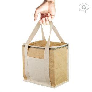 Sac isotherme Lunch bag NATURLUNCH en jute, anses et poche en coton