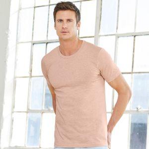 T-shirt chiné ajusté, manches étroites en coton doux, 145 g/m²