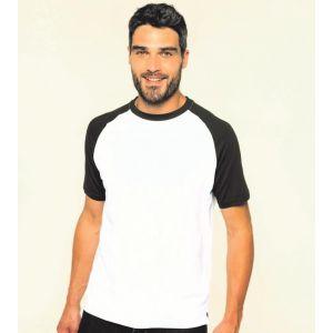 T-shirt baseball bicolore manches courtes, 165 g/m²