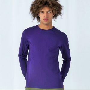 T-shirt épais homme manches longues en coton col rond, 185 g/m²