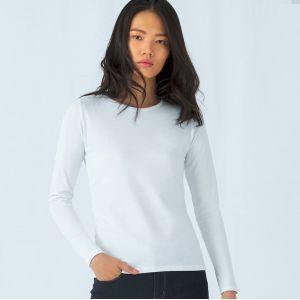 T-shirt épais femme manches longues en coton col rond, 185 g/m²