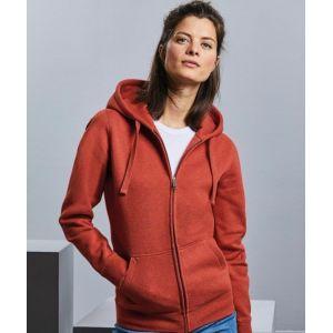Sweat à capuche femme zippé chiné authentique et moderne, 280 g/m²