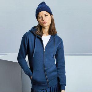 Sweat femme zippé à capuche doublée, accès MP3, 280 g/m²