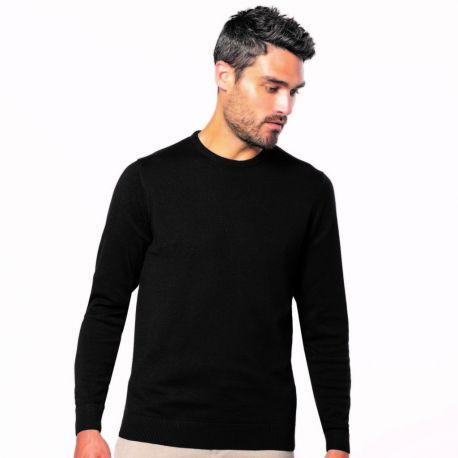 Pull homme col rond coupe ajustée en coton et acrylique, 290 g/m²