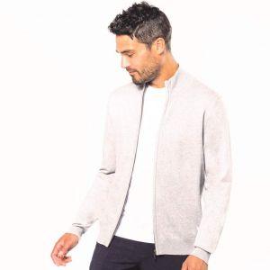 Cardigan zippé élégant et confortable, col montant, 330 g/m²