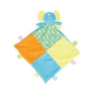 Doudou plat éléphant multicolore pour bébé, conforme norme EN71
