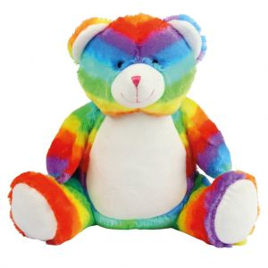 Peluche zippée Ours multicolore pour bébé, conforme norme EN71