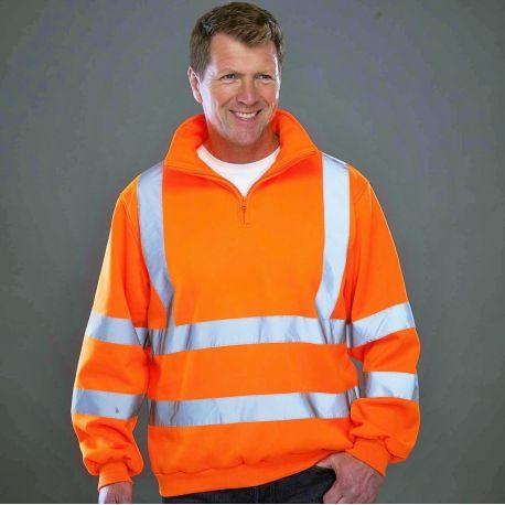 Sweat-shirt de sécurité Hi-Vis, col en zip et bandes réfléchissantes