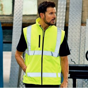 Bodywarmer de sécurité imperméable Haute Visibilité, 340 g/m²