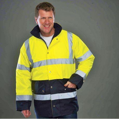Veste de sécurité bicolore Hi-Vis avec capuche intégrée dans le col