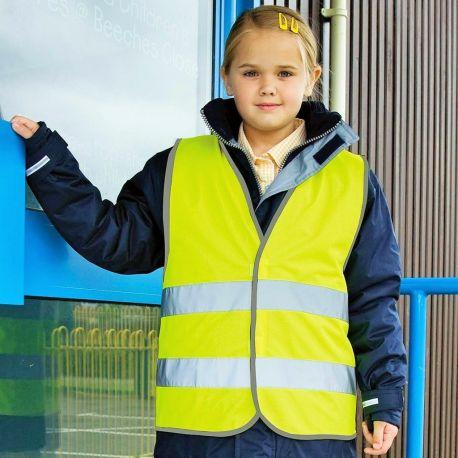 Gilet de sécurité enfant jaune fluo avec fermeture velcro
