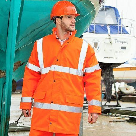 Veste parka de sécurité haute visibilité, coupe-vent et imperméable
