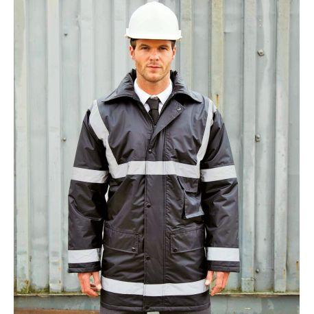 Veste parka de sécurité imperméable avec bandes réfléchissantes