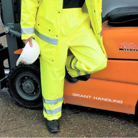 Pantalon de pluie haute visibilité imperméable, taille élastique