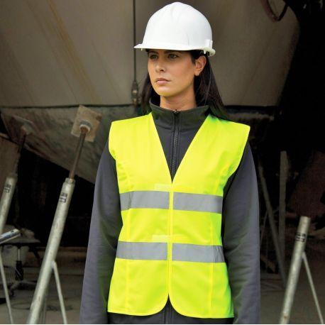Gilet de sécurité femme haute-visibilité à scratch, taille ajustée