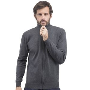 Pull grand zip manches droites, 270 g/m²