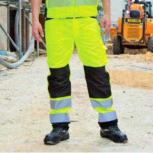 Pantalon de sécurité haute visibilité multi-poches et genouillères