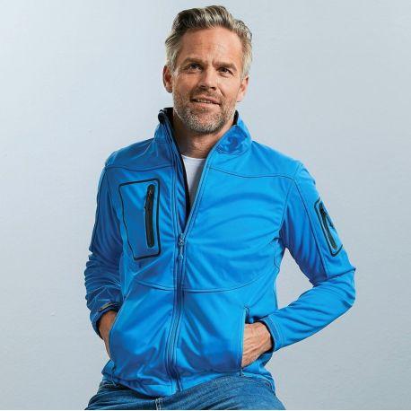 Veste homme sportshell ergonomique 3 couches intérieur polaire, 250 g/m²