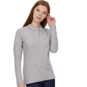 Polo femme manches longues pas cher en coton, 180 g/m²