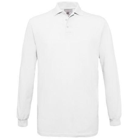 Polo safran homme manches longues en coton ringspun, 180 g/m²