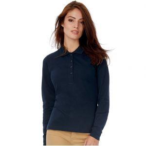 Polo safran femme manches longues en coton ringspun, 180 g/m²