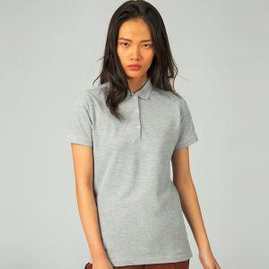 Polo safran femme allongé manches courtes en coton ringspun, 180 g/m²