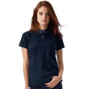 Polo femme col jean denim en coton maille piquée, 180 g/m²