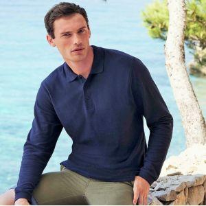 Polo premium manches longues en coton, 180 g/m²