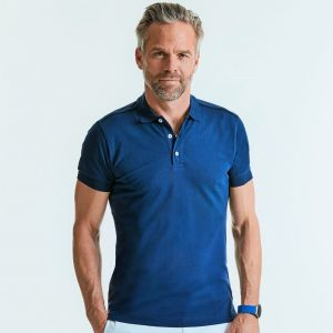 Polo homme stretch en coton et lycra, coupe slim, 210 g/m²