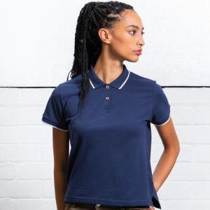 Polo femme en coton bio contrasté au col et aux poignets, 200 g/m²