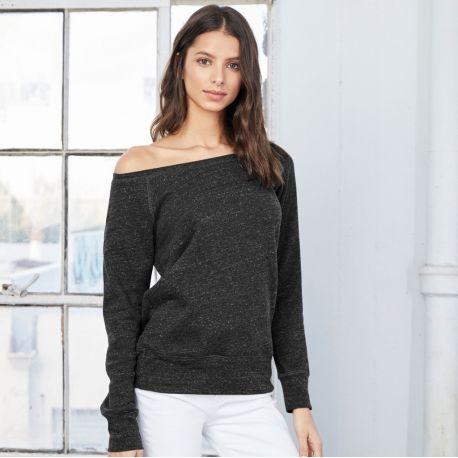 Sweat-shirt à col large en polaire triblend prélavé, manches raglan, 280 g/m²