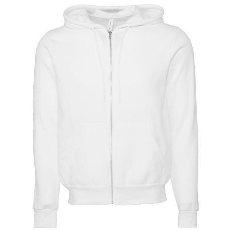 Sweat à capuche zippé cordons blancs, modèle fitté, 240 g/m²