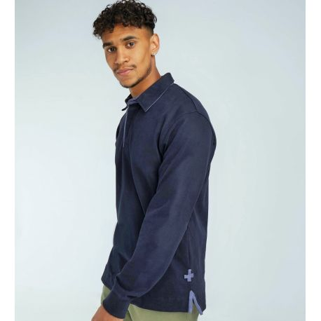 Polo rugby manches longues en coton extra doux, 260 g/m²