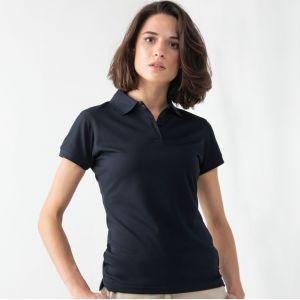 Polo femme manches courtes en polyester micro piqué respirant, 180 g/m²