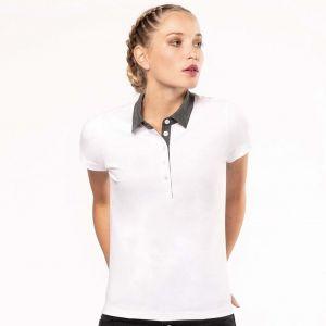 Polo jersey bicolore femme col chemise et manches courtes, 180 g/m²