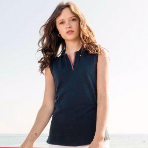 Polo contrasté sans manches pour femme en coton, 220 g/m²