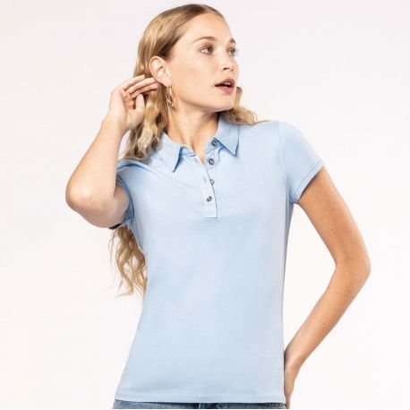 Polo jersey manches courtes femme facile d'entretien, 180 g/m²