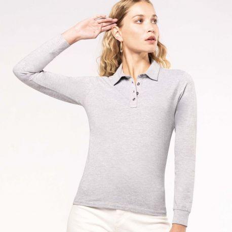 Polo jersey manches longues femme facile d'entretien, 180 g/m²