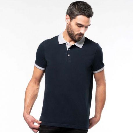 Polo homme en coton piqué bicolore manches courtes, 180 g/m²